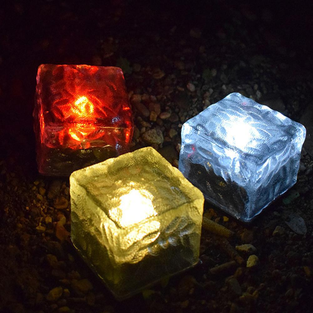 1PC Outdoor Waterproof Solar LED Glass Lawn Light Square Underground Lamp For Courtyard Decoration