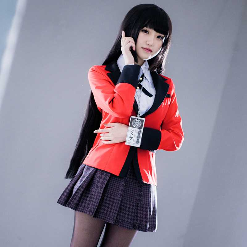 3c736be85a1 Anime Kakegurui Cosplay Costume Yumeko Jabami Kirari Momobami Japanese  School Girls Uniform Full Set Compulsive Gambler