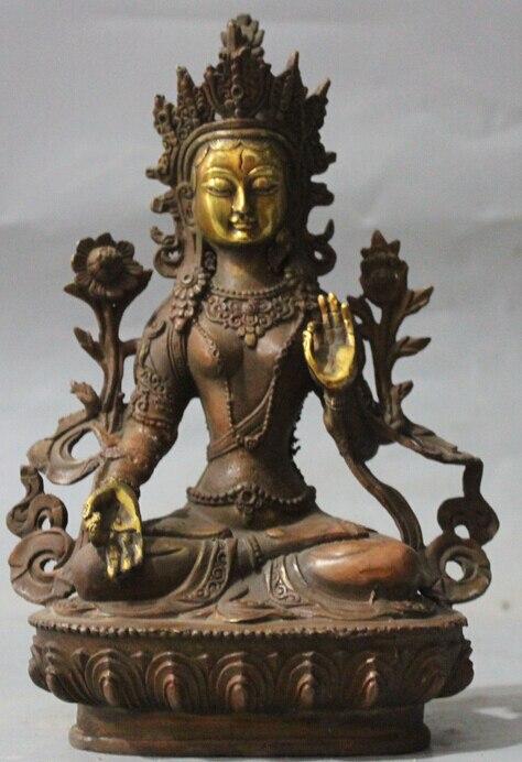 Tibet Buddhism Bronze Gilt White Tara White Tara Kwan-Yin Goddess Buddha Statue R0709 (B0328) фото