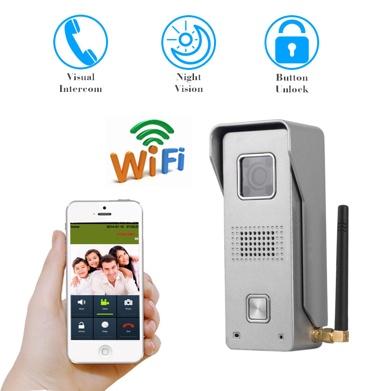WiFi wireless intercom Video Door Phone intercom Doorbell Peehole Camera Remote Unlock IR Night Vision metal waterproof camera