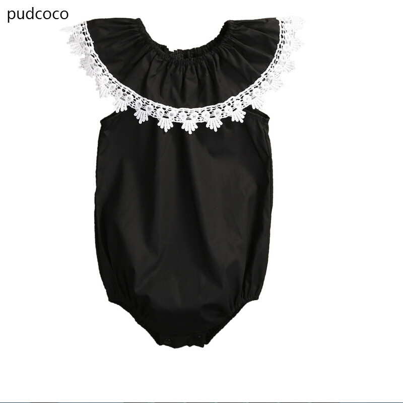 cec8fa5d8 Lovely Infant Baby Girls Lace Floral Ruffles Romper 2017 Cute Black ...