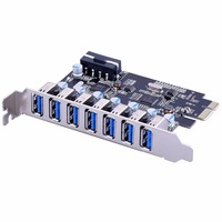 PCI e usb 3.0 Expansion Card 7 port USB 3.0 PCI express Expansion Card pcie usb3.0 Adapter Desktop Computer Components Brand New