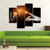 電球ハンドライト火災黄色黒背景壁アート絵画写真プリントキャンバスに抽象画像用デコ