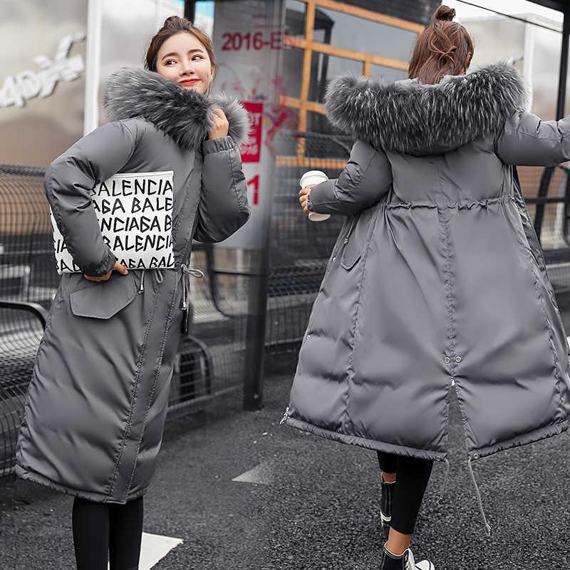 52f4b5337b81 2018 модное зимнее пальто с меховым воротником, женская тонкая Длинная парка,  женская утепленная куртка