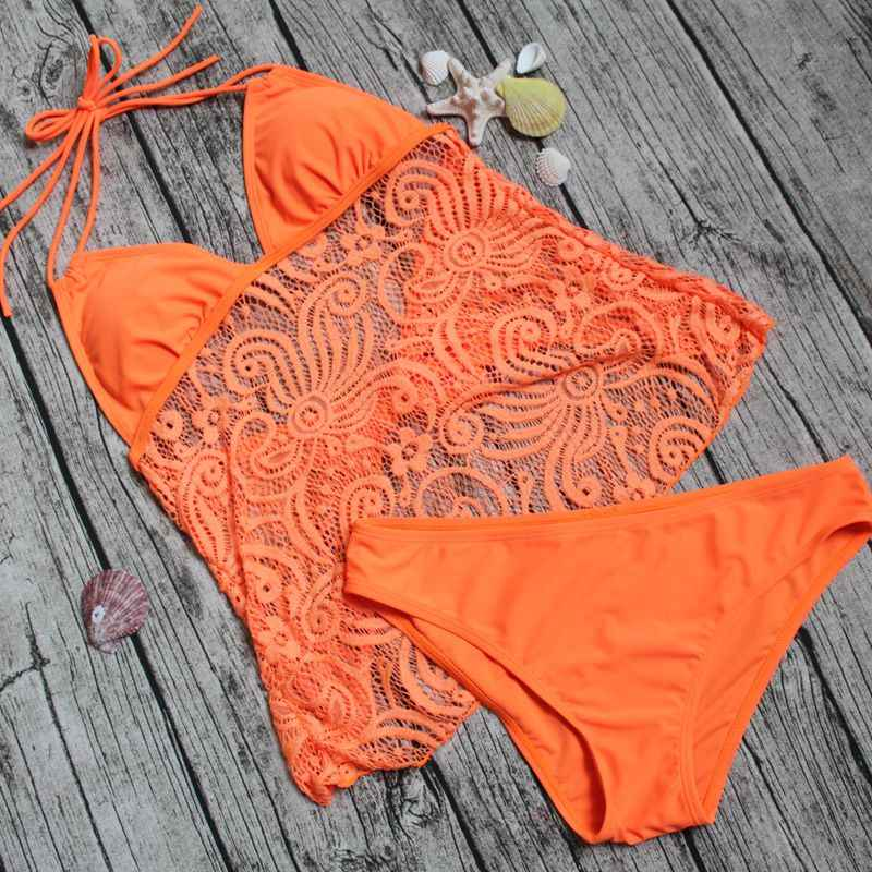 Tankini, bañador de talla grande, traje de baño de dos piezas para mujer, ropa de playa 2020, bikini brasileño de encaje, traje de baño de malla con cuello Halter, traje de baño 5XL
