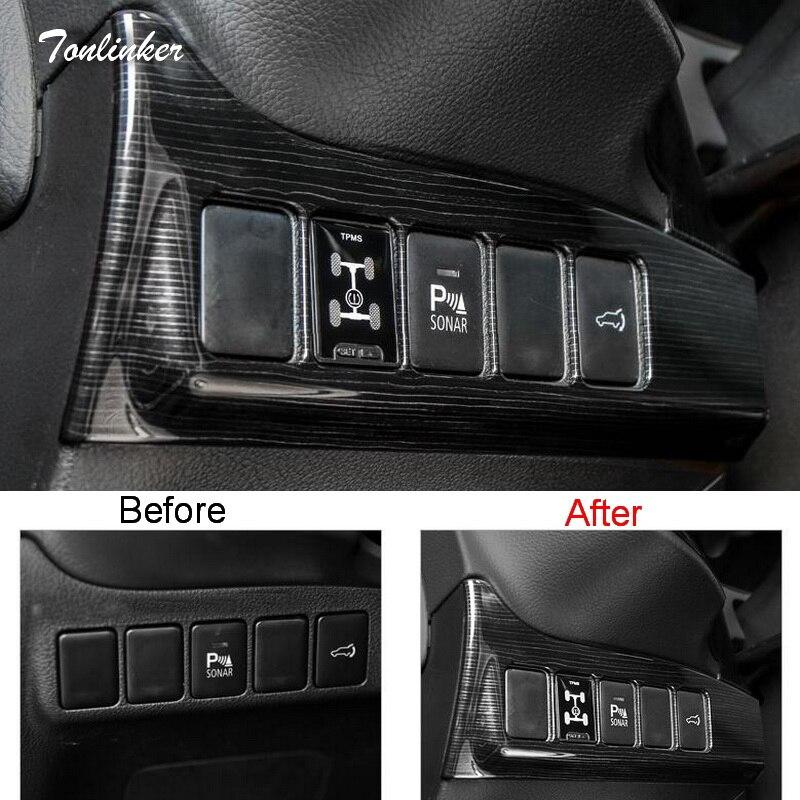 Tonlinker Couverture autocollants Pour Mitsubishi Outlander 2016-18 Car Styling 1 PCS ABS Phare réglage bouton cas de couverture autocollant