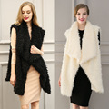 Ukraine Women Winter Fake Fur Vest Waistcoat Jacket Coat Fourrure Black Beige Gilet plus size XL Gothic Punk Elegant Outerwear