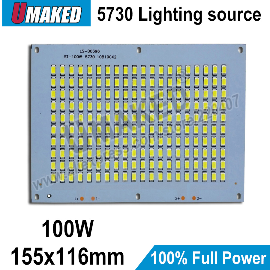 100% Full Power LED Floodling PCB 100W SMD5730, 155x116mm led PCB board,Warm white/ White Aluminum plate for led floodlight dc 12v 45w 155mm led pcb white red color input dc12v needn t driver smd5730 high lumen aluminum lamp plate