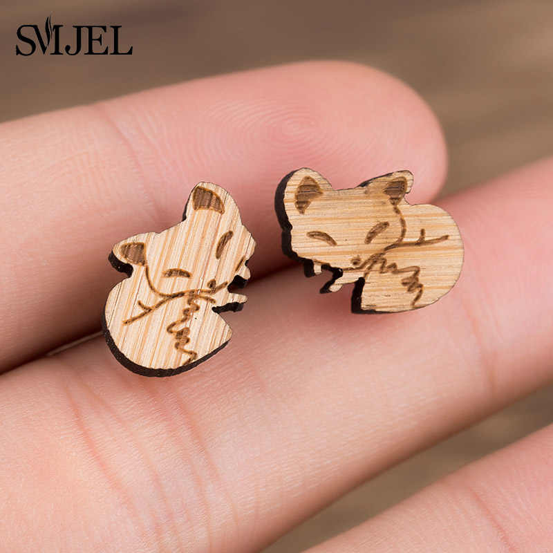 SMJEL Origami Wood Fox Small Earrings for Women Girls Hypoallergenic Post Wooden Earrings Studs Christmas Gifts pendients 2019