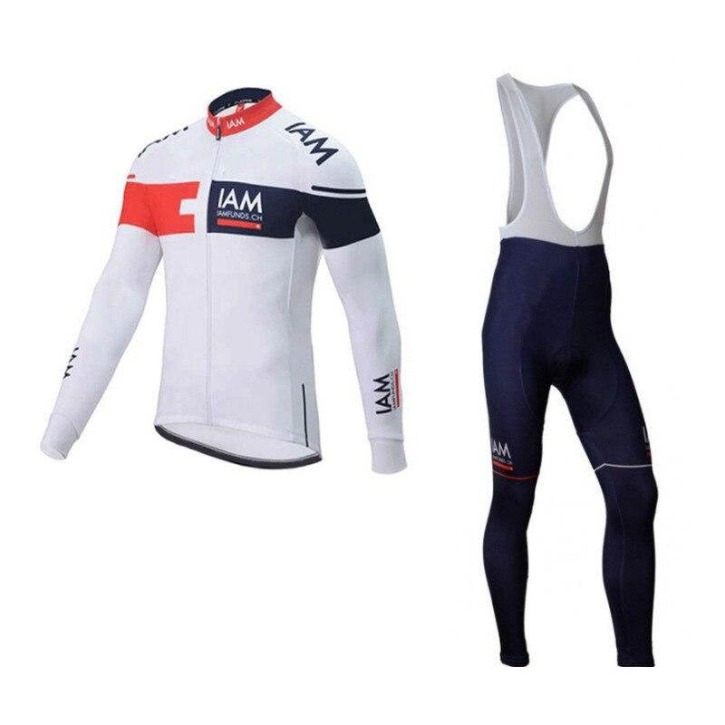 2016 panno morbido di inverno pro squadra IAM fondi ciclismo kit jersey mens più caldo della bici cappotto di panno MTB Ropa ciclismo maillot Bicicletta gel pad