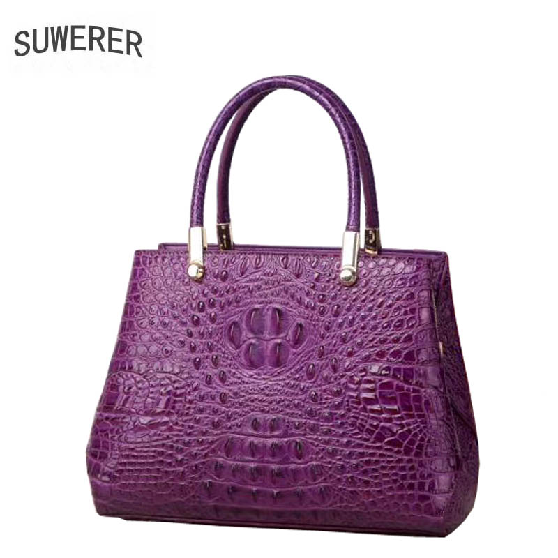 SUWERER 2019 New Superior cowhide women genuine leather bags Embossed crocodile pattern Fashion luxury leather tote bag