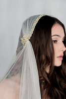 New hotsale haf pack long crystal veil wedding hat veils bride accessories