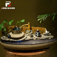 110 240V Water Fountain Feng Shui Desktop Atomizer Lucky Office Fish Tank Humidifier Incense Burner Vintage Home Decor Bonsai