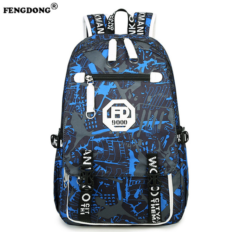 FENGDONG Oxford Backpacks Schoolbag Boy Waterproof Large Capacity Laptop Travel Backpack for Men School Bags Mochila Masculina  fengdong men backpack oxford youth fashion brand usb charge designer back pack college bags school bag waterproof backpacks male