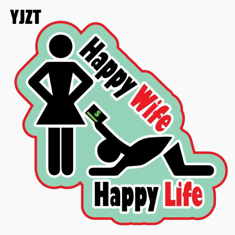 YJZT 12.7CM*12.1CM Personality Reflective Car Sticker HAPPY WIFE HAPPY LIFE The Tail Of The Car Decal C1-7738