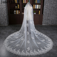 JaneVini Romantic Cathedral Wedding Veils White One Layer Appliques Edge Sequined Tulle Bridal Veils with Comb Complementos Boda