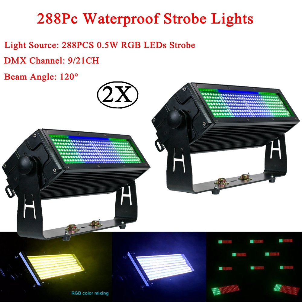 2Pcs/lot 105W LED Waterproof Strobe Light Outdoor 288Pcs RGB 3IN1 Lighting Stage Party Music DJ Active