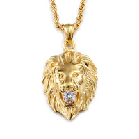 Iced Out Necklace 316L Stainless Steel Gold Plated Lion Head Mouth Set Auger Pendant Necklace High