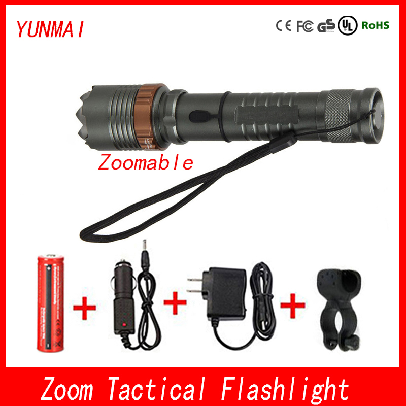 Mechanical Zoom Flashlight XML T6 LED 18650 Adjustable Electric Torch Light Lamp