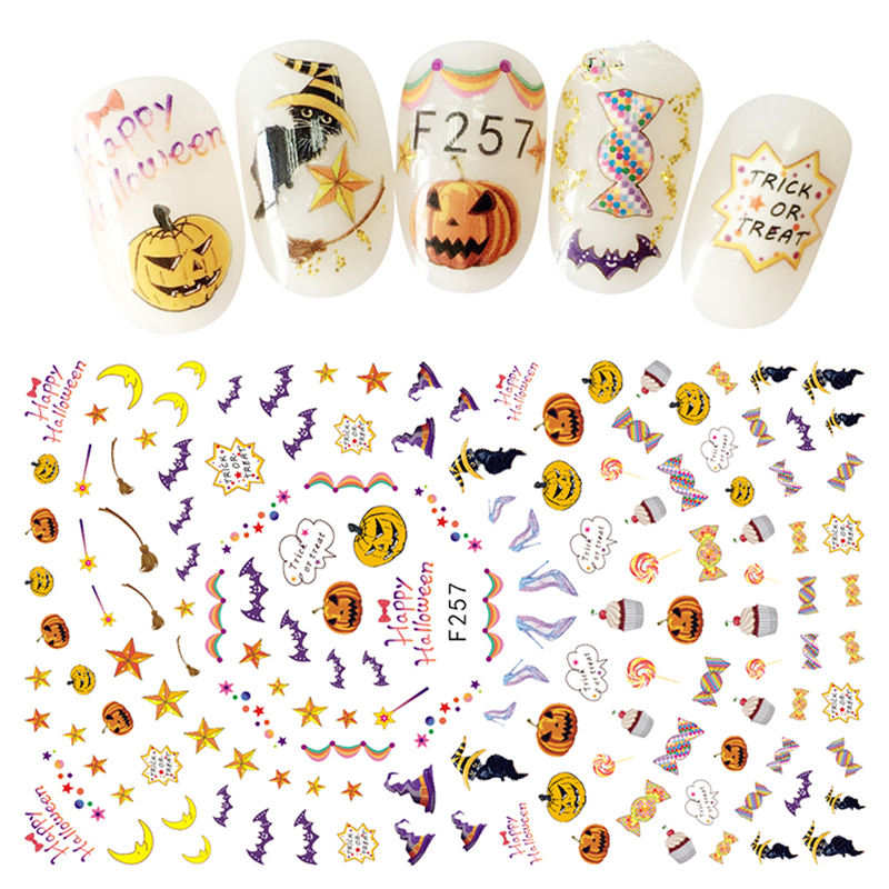 1Pc Adhesive Transfer 3D Nail Decals Halloween Styles Pumpkin Candy etc Design Nail Stikcers Decorations For Women DIY Nails Art