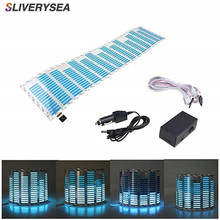 SLIVERYSEA Music Beat Activated Car Stickers Equalizer Glow Blue LED Light Audio Voice Rhythm Lamp