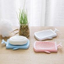 1 pcs Creative  Whale Shape Bathroom Soap Dish Drain Plate Storage Holder Soapbox Eco-friendly Plastic