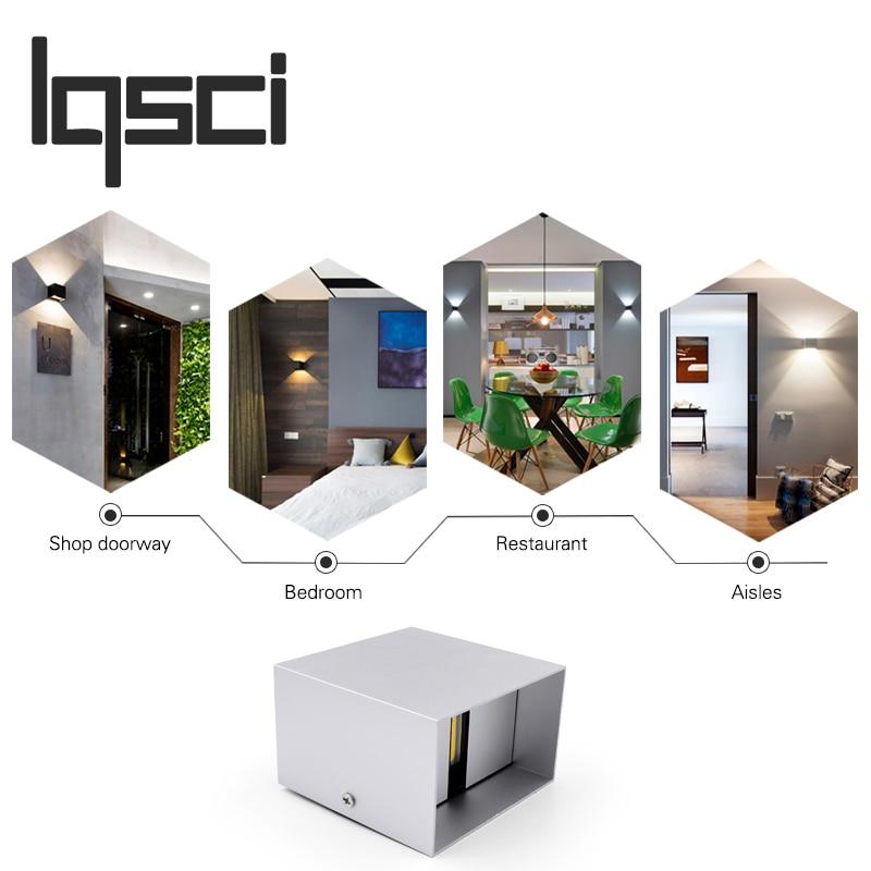 Lqsci 12W LED Aluminium wall light rail project Square LED wall lamp bedside room bedroom wall lamps arts BD75