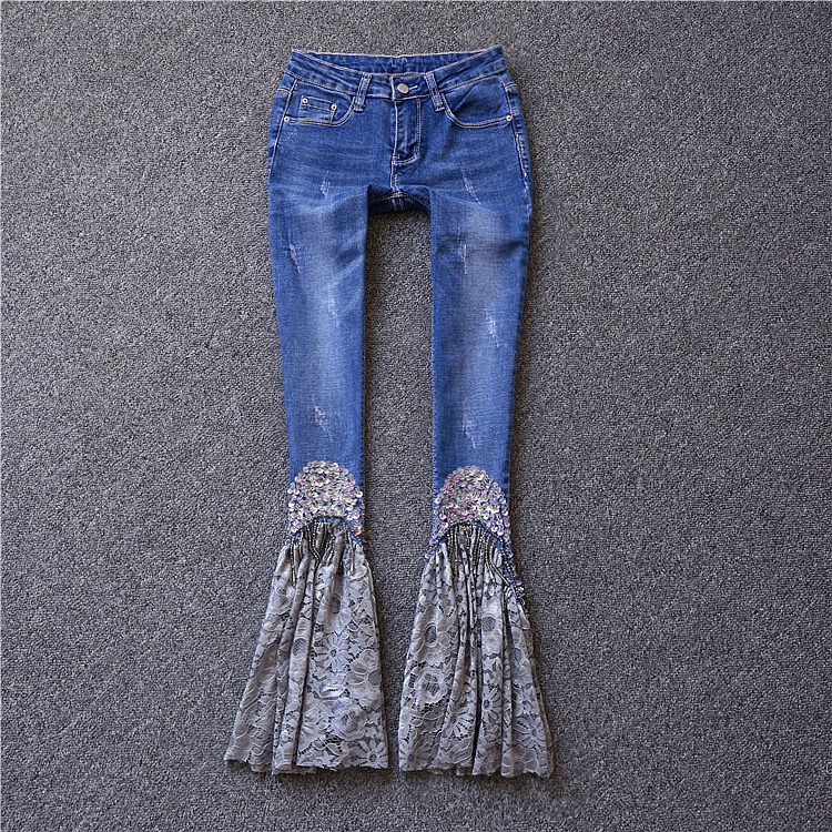 Brand fashion women's high-end luxury diamond lace casual jeans pants trousers 2017 high quaitily casual fashion 014