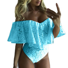 Free Ostrich Women Bardot Frill Off Shoulder Lace Bodysuit Lady Stretched Club P