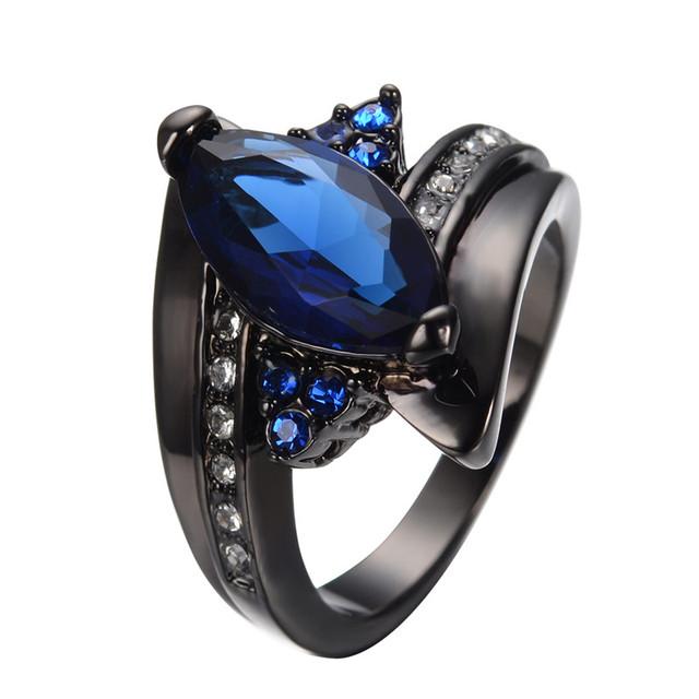 Anel azul Para As Mulheres Homens Jóias Legal Black Gold Filled Zircon Anel de Cristal Presente da Jóia Do Casamento Bague Femme RB0405