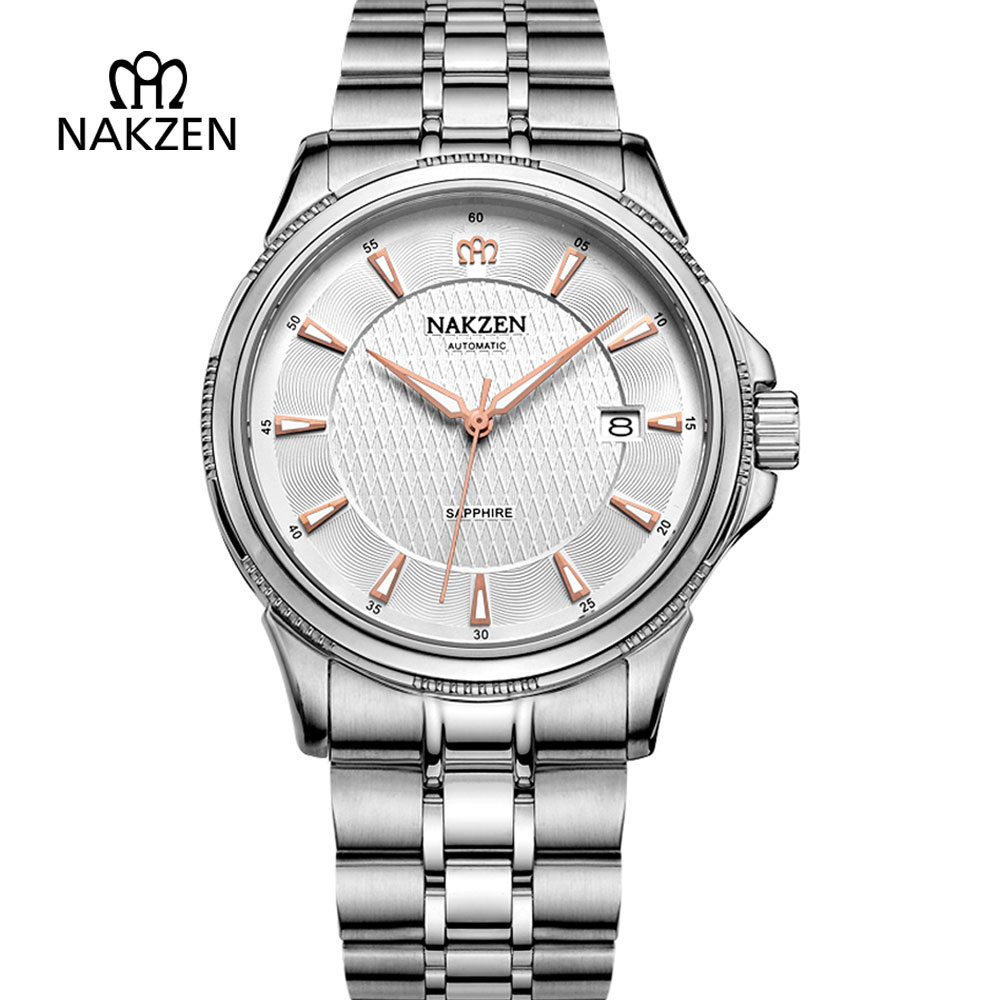 NAKZEN Mens Watches Top Brand Luxury Automatic Mechanical Watch Men Full Steel Business Waterproof Sport Watches erkek kol saati forsining full calendar tourbillon auto mechanical mens watches top brand luxury wrist watch men erkek kol saati montre homme
