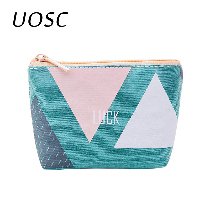 UOSC Geometric Vintage Classic Women Man Canvas Coin Purse Zip Wallet Small Mini Bag Case Pouch Holder Retro Money Bags Gift