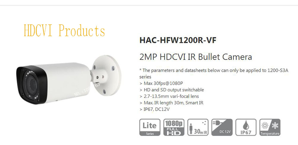 Free Shipping Original DAHUA Security Camera CCTV 2MP HDCVI IR Bullet Digital Video Camera IP67 without Logo HAC-HFW1200R-VF free shipping dahua cctv camera 4k 8mp wdr ir mini bullet network camera ip67 with poe without logo ipc hfw4831e se