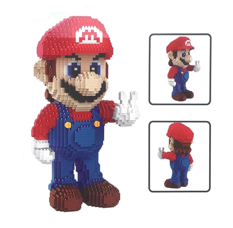 Balody Mini Blocks Bowser Cartoon Building Toys Mario Auction Figures Yoshi Model Bricks Wario Anime Brinquedos Kids Gifts 16022