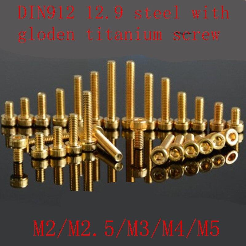 M2 M2.5 M3 Allen Flat head Screws Countersunk head Bolts Titanium Plating 10Pcs