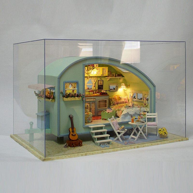 Travel Caravan DIY Tour Of Time Wooden Dollhouse Miniature Kit Doll House LED Music Box Voice