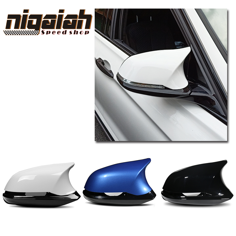 3D Remplacement 6 pcs car le style Brillant Noir ABS vue arrière side mirror cover pour BMW F20 F21 F22 F23 f30 F31 F32 M3 M4 look