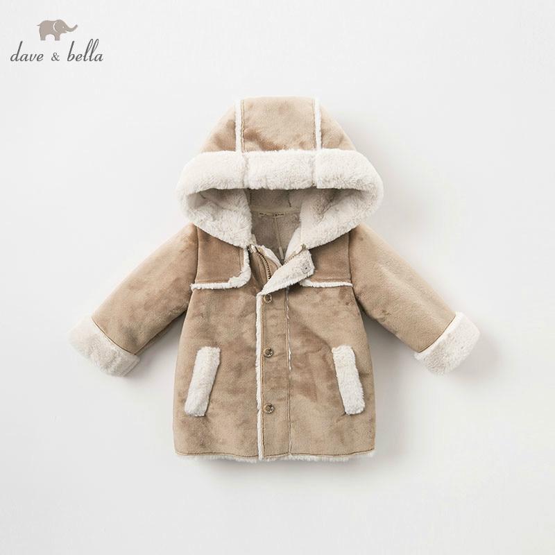 DB8477 dave bella autumn winter baby boys hooded jacket children high quality coat kids outerwear