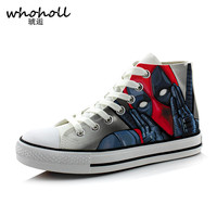 WHOHOLL Super Hero Deadpool Print Men High Top Lace up Breathable Canvas Shoes Classic Men's Vulcanize Shoe Fashion Male Flat