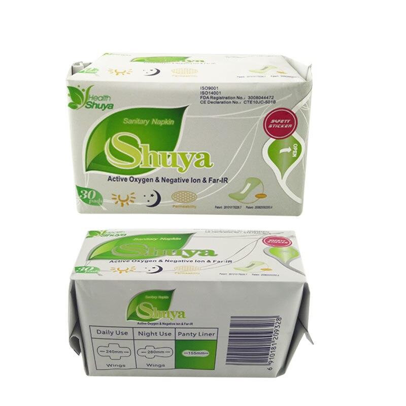 60 pièce = 2 pack/lot Anion serviette hygiénique Shuya serviettes hygiéniques femmes soins de santé amour anion tampons serviettes hygiéniques sanitaires tampons