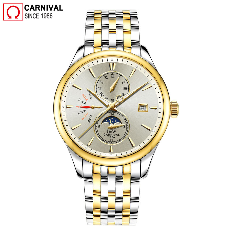 Carnival Mechanical Automatic Watch For Men IW Gold Stainless Steel Mens Watches Moon Pashe Week Display Clock reloj hombre 2018 carnival iw mens mechanical watches top brand luxury automatic watch men stainless steel moon pashe calendar clock reloj hombre