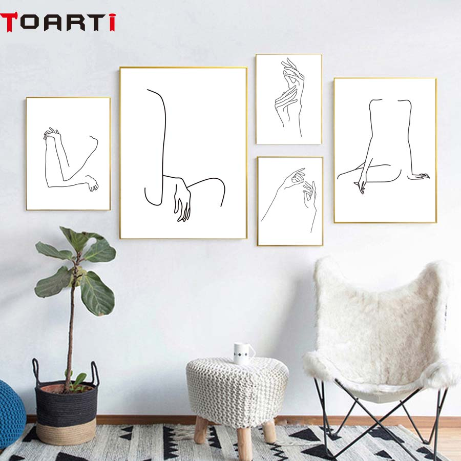 Woman Physique Line Drawing Summary Poster&prints Fashionable Canvas Portray Modular Wall Image For Ladies Bed room Wall Artwork House Decor