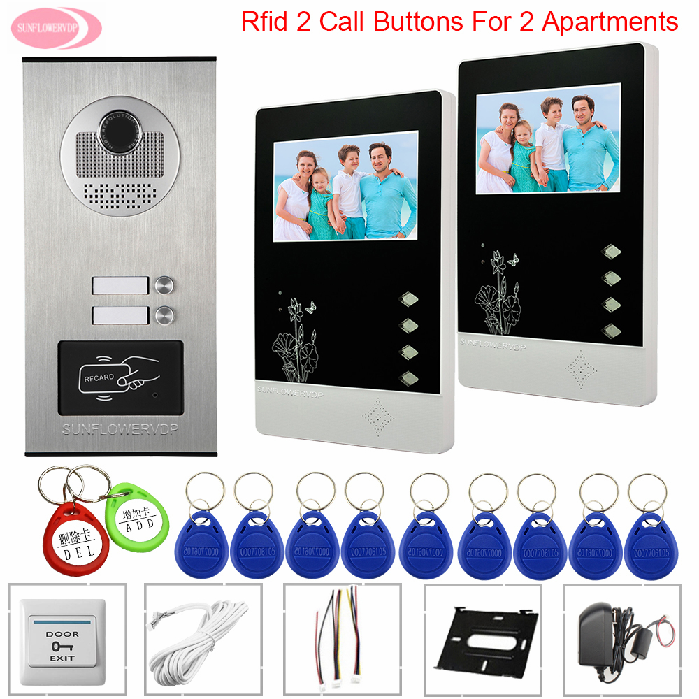 Video Door Entry System For Home Video Phone For 2 Apartment Video Intercom 4.3inch + Electronic Door Lock Door Bell System Unit