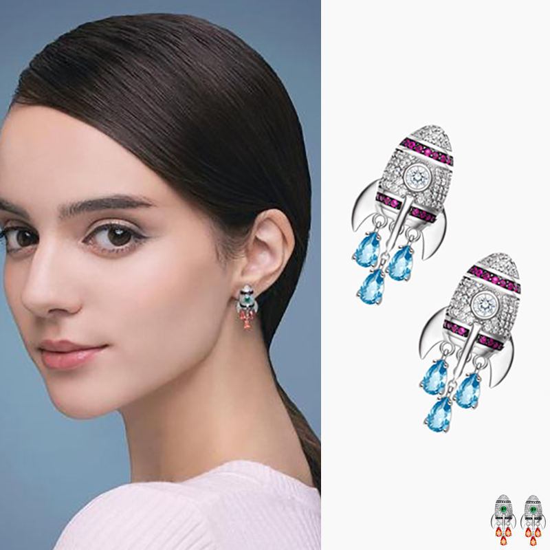 New Multicolor Small Rocket Stud Earrings Inlay Top Quality Cubic Zirconia Earings Fashion Jeweley For Punk Girl Gift AE305