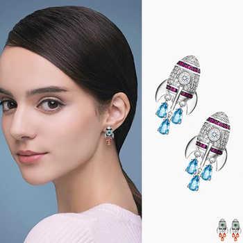 Nouveau multicolore petites boucles d'oreilles fusée incrusté de haute qualité cubique zircone boucles d'oreilles mode bijoux pour Punk fille cadeau AE305