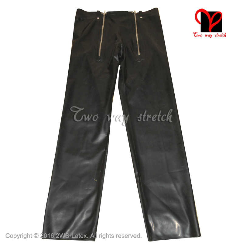 Latex Jeans Rubber pants with two zippers trousers Black Gummi bottoms plus size leggings rubber jeans KZ-116