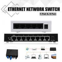 1Pcs 5V 5-Ports 8-Ports RJ-45 10/100Mbps Ethernet Network Switch Internet Hub for TV Computer Games