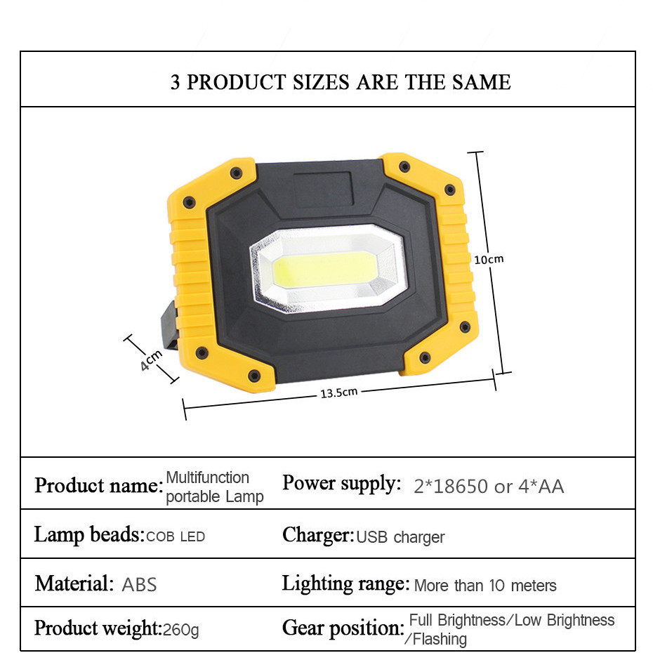 Led Portable Spotlight Led Work Light Rechargeable 18650 Battery Outdoor Lantern For Camping Climbing Construction Site Working in Portable Lanterns from Lights Lighting