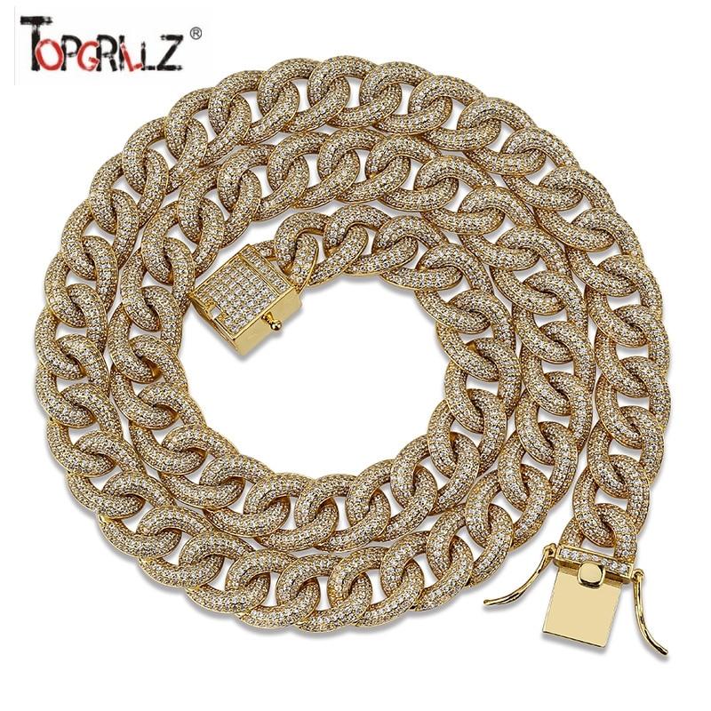 13mm entièrement glacé cubain lien chaîne collier hommes or argent couleur finition cubique Zircon collier Micro Pave Hip Hop bijoux