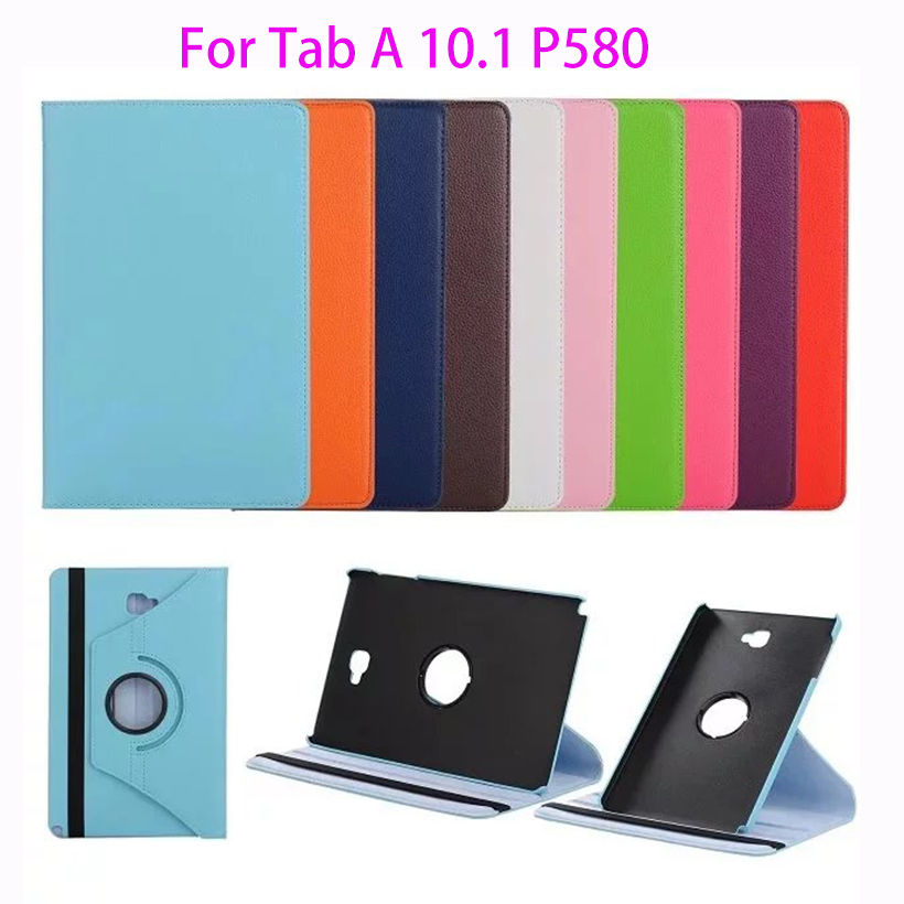 Case Cover For Samsung Galaxy Tab A a6 10.1 P580 P585 10.1 inch Tablet Funda 360 Degree Rotating Flip Leather Stand Shell Case